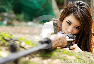 Sexy girl with rifle