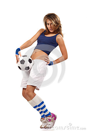 Sexy girl with soccer ball