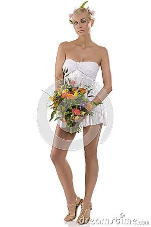 Sexy girl in spring dress