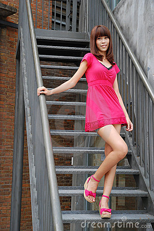 Sexy girl on the stairs