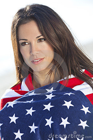 Sexy Girl In Stars & Stripes American Flag