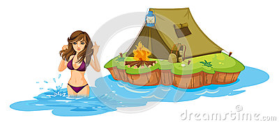 A sexy girl swimming near the island with a camping tent