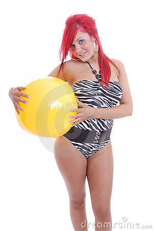 Sexy girl in swimsuit with beach ball isolated