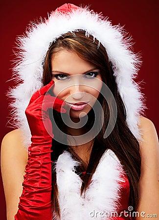 Sexy girl wearing santa claus clothe