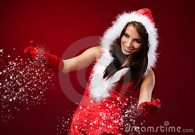 Sexy girl wearing santa claus clothe