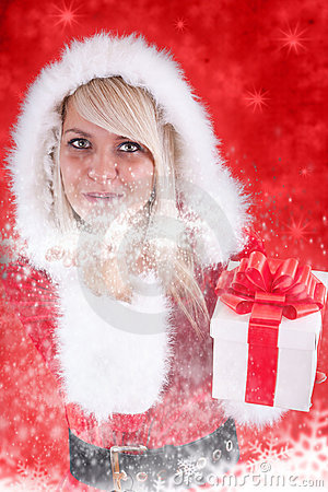 Sexy girl wearing santa claus clothes