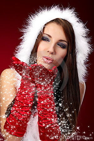 Sexy girl wearing santa claus clothes on r