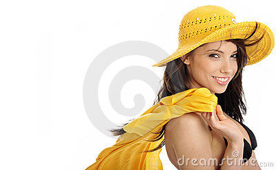 Sexy girl in yellow hat and bikini