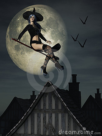 Sexy Halloween witch on broomstick