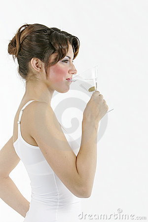 Sexy healthy woman with a glass