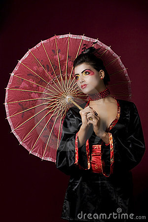 Sexy japanese geisha looking sideways