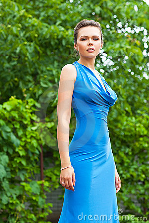 Sexy lady in blue dress