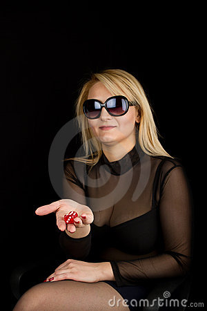 Free Sexy Lady With Red Dices Royalty Free Stock Photography - 19308897