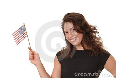 Sexy Latina with American Flag