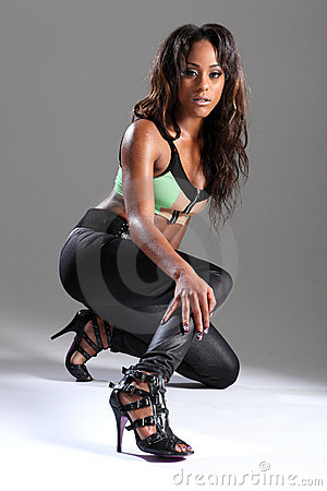 Free Sexy Leggy African American Model In Stilettos Royalty Free Stock Photography - 21477757