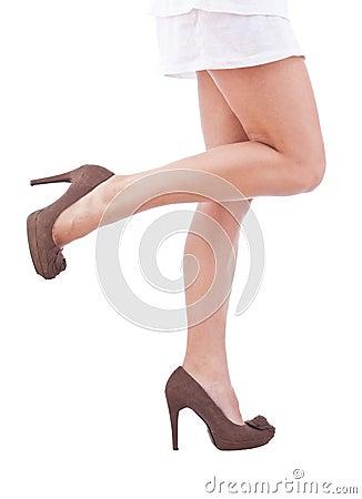 Sexy legs in brown high heels