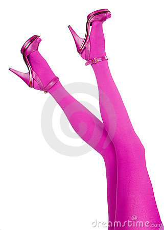 Sexy legs in pink stockings and high heels.