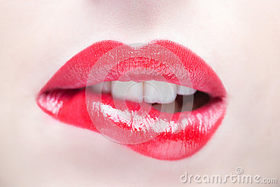 Lips. Beauty Red Lip Makeup Detail. Stock Photo