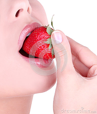 Sexy lips and strawberry