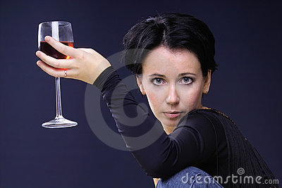 Sexy look and glass of wine