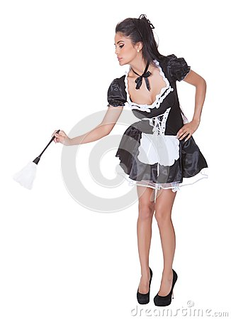 Sexy maid in skimpy uniform