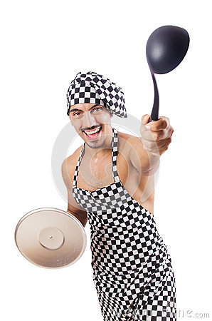 Sexy male cook isolated