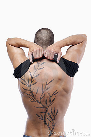 Sexy male s back with tattoo