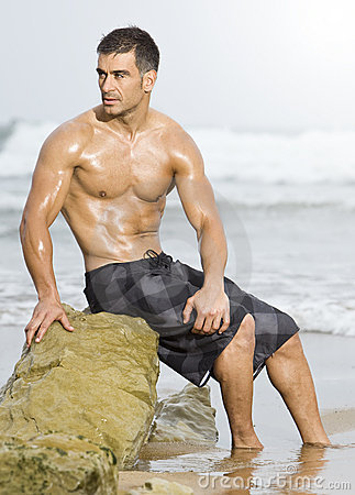 Sexy man beach