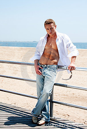 Sexy man at beach