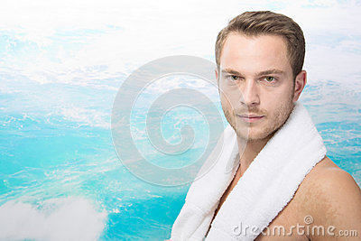 Sexy man on beach