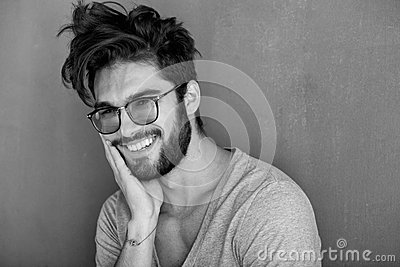 Sexy man with beard laughing