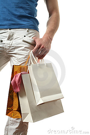 Sexy Man with Copy Space Shopping Bags