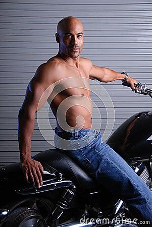 man on motor cycle.