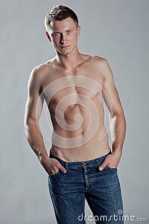 Sexy man posing shirtless