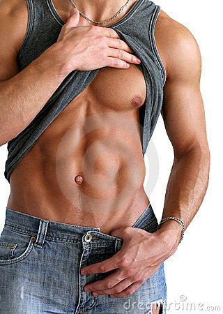 Sexy Man Showing His Six-Packs Isolated on White