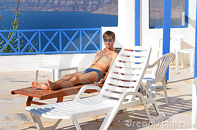 Sexy man at sunbed