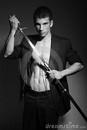 Sexy man with sword