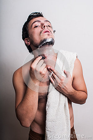 Sexy man who shaves his beard