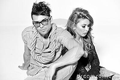 Sexy man and woman - bw retro mood
