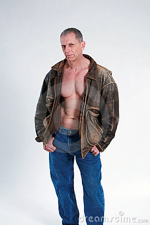 Sexy mature man in leather jacket