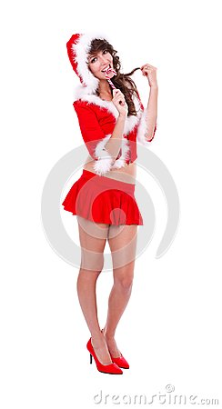 Sexy miss Santa with lollypop