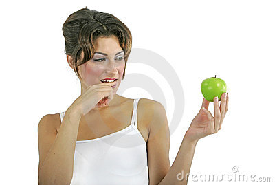 Sexy model with apple