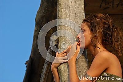 Sexy model in beach hut