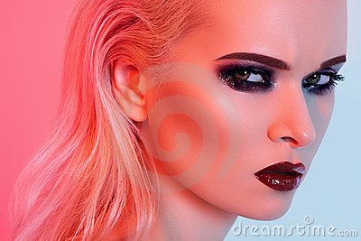Sexy model with bright fashion make-up, gloss lips