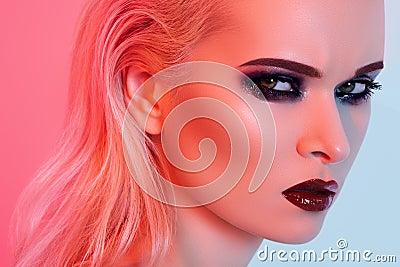 Sexy model with bright fashion make-up, gloss lips