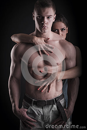 Free Sexy Muscular Naked Man And Female Hands Royalty Free Stock Photo - 40760255