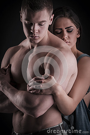 Free Sexy Muscular Naked Man And Female Hands Stock Images - 40760274