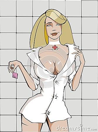 Sexy nurse with condom
