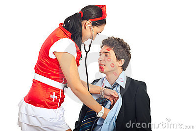 Sexy nurse examine lover patient