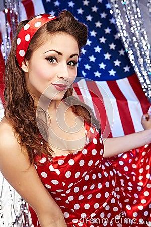 Sexy Patriotic American  Girl